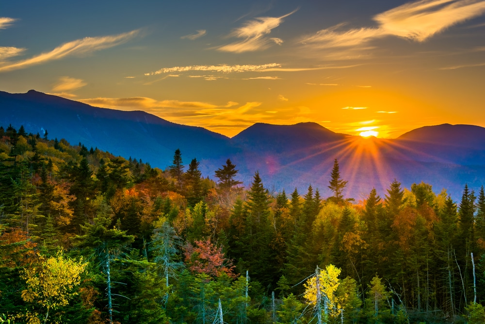 Stunning Fall foliage seen from one of these beautiful Hikes in the White Mountains