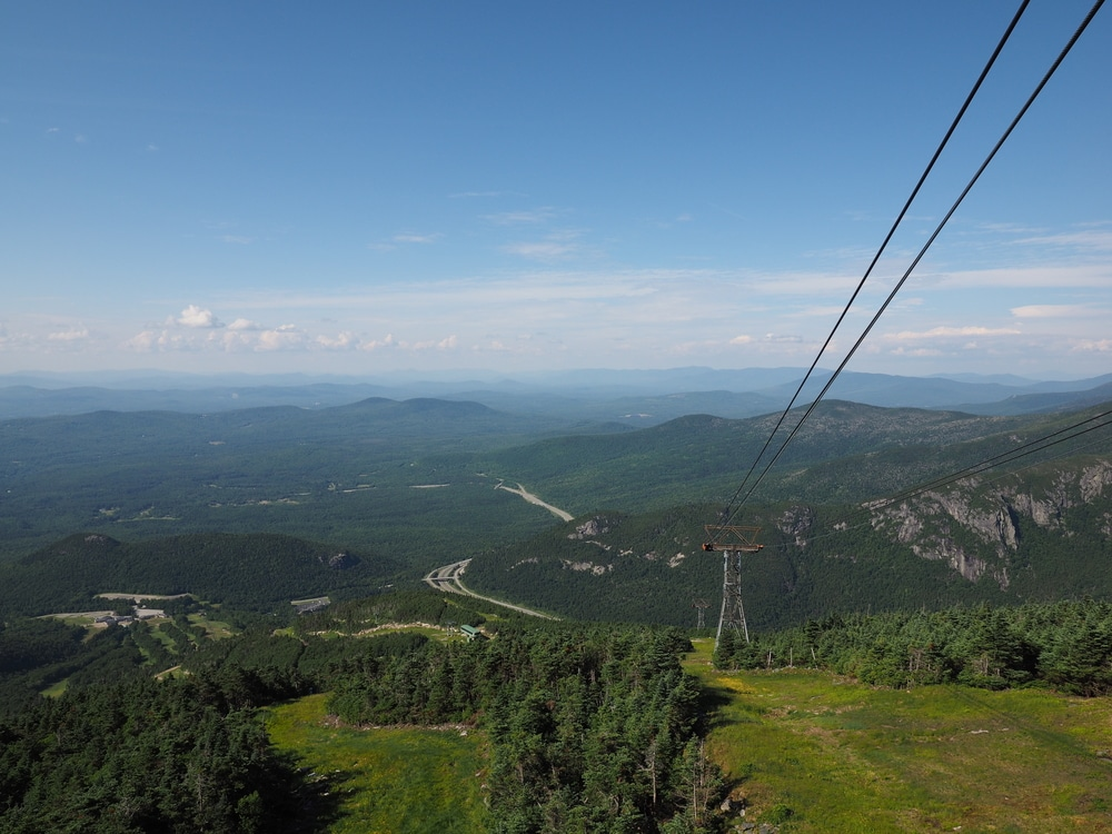 The View from the top of the Cannon Mountain Aerial Tramway in New Hampshire